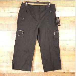 NWT Larry Levine Women's Cargo Cropped Capri Pants